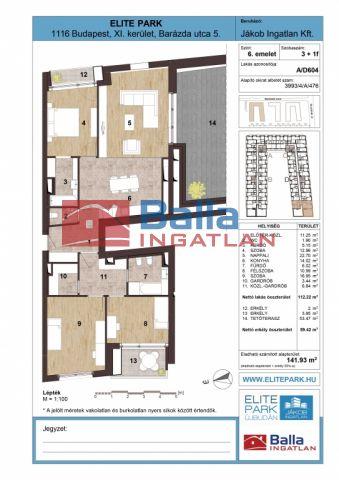 XI. Kerület (Kelenföld) - Barázda utca:  112 m²-es társasházi lakás   (119'400'000 ,- Ft)