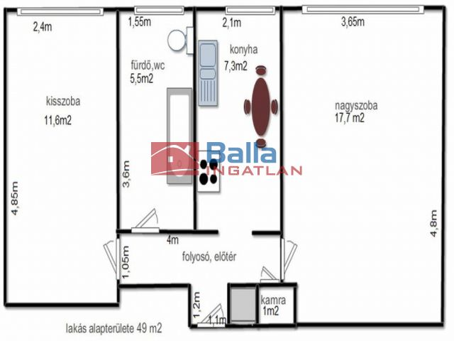 Hatvan - Városközpont:  49 m²-es társasházi lakás   (18'200'000 ,- Ft)